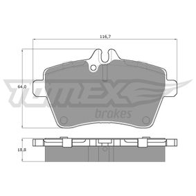 Brake Pad Set, disc brake Width: 116,7mm, Height: 64mm, Thickness: 18,8mm with OEM Number 1694201320