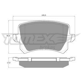 Bremsbelagsatz, Scheibenbremse Breite: 105,5mm, Höhe: 56,4mm, Dicke/Stärke: 17mm mit OEM-Nummer JZW-698-451-G