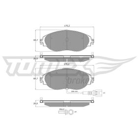Brake Pad Set, disc brake Width: 175,2mm, Height: 69,7mm, Thickness: 20mm with OEM Number 3C0698151G