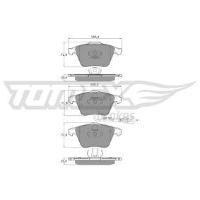 Bremsbelagsatz, Scheibenbremse Höhe: 72,9mm, Dicke/Stärke: 20mm mit OEM-Nummer 1K0 698 151 B