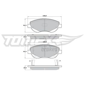 Bremsbelagsatz, Scheibenbremse Höhe: 61,3mm, Dicke/Stärke 1: 19mm, Dicke/Stärke 2: 19,5mm mit OEM-Nummer 24946