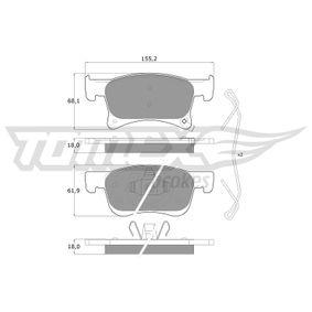 Bremsbelagsatz, Scheibenbremse Höhe: 61,9mm, Dicke/Stärke: 18mm mit OEM-Nummer 16 05 281