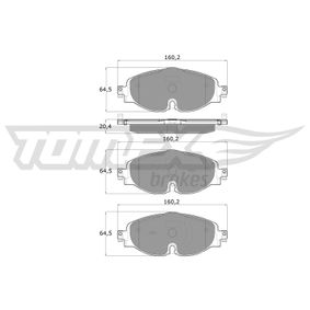 Kit de plaquettes de frein, frein à disque Hauteur: 64,5mm, Épaisseur: 20,4mm avec OEM numéro 5Q0698151D