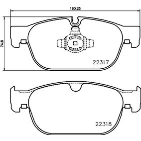 Bremsbelagsatz, Scheibenbremse Breite: 180,25mm, Höhe: 74,6mm, Dicke/Stärke: 18,4mm mit OEM-Nummer 3144597-6