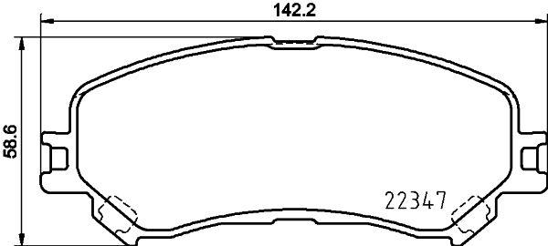 HELLA  8DB 355 025-081 Bremsbelagsatz, Scheibenbremse Breite: 142,2mm, Höhe: 58,6mm, Dicke/Stärke: 18,5mm