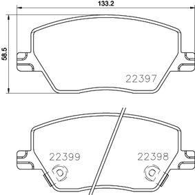 Bremsbelagsatz, Scheibenbremse Breite: 133,2mm, Höhe: 58,5mm, Dicke/Stärke: 19,2mm mit OEM-Nummer 77368368