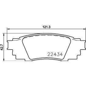 HELLA  8DB 355 025-121 Bremsbelagsatz, Scheibenbremse Breite: 121,3mm, Höhe: 42,7mm, Dicke/Stärke: 14,5mm
