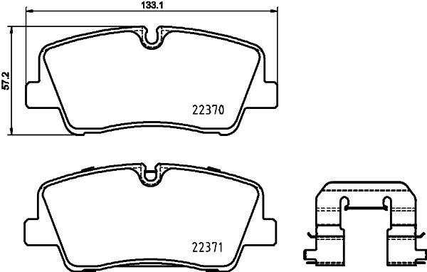 HELLA  8DB 355 025-151 Bremsbelagsatz, Scheibenbremse Breite: 133,1mm, Höhe: 57,2mm, Dicke/Stärke: 17,4mm