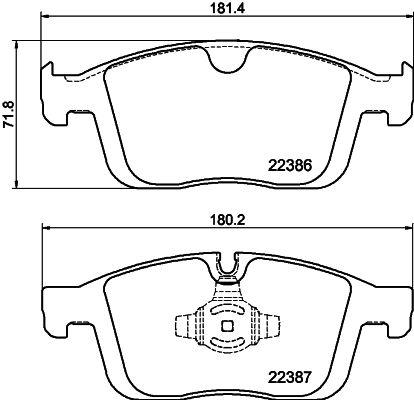 HELLA  8DB 355 025-261 Bremsbelagsatz, Scheibenbremse Breite 1: 181,5mm, Breite 2: 180,3mm, Höhe 1: 71,8mm, Höhe 2: 71,7mm, Dicke/Stärke 1: 18,5mm, Dicke/Stärke 2: 19mm