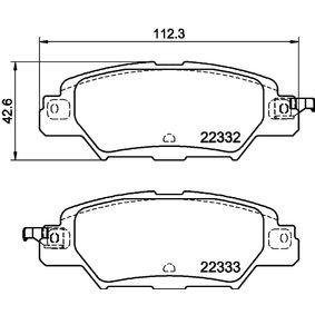 HELLA  8DB 355 025-461 Bremsbelagsatz, Scheibenbremse Breite: 112,35mm, Höhe: 42,6mm, Dicke/Stärke: 14,3mm