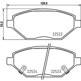 HELLA  8DB 355 025-521 Bremsbelagsatz, Scheibenbremse Breite: 128,9mm, Höhe: 53,5mm, Dicke/Stärke: 18mm