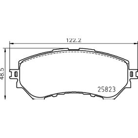 HELLA  8DB 355 025-711 Bremsbelagsatz, Scheibenbremse Breite: 122,2mm, Höhe: 48,5mm, Dicke/Stärke: 17,5mm