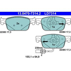Bremsbelagsatz, Scheibenbremse Breite: 155,1mm, Höhe: 64,0mm, Dicke/Stärke: 17,3mm mit OEM-Nummer 8W0698151AG
