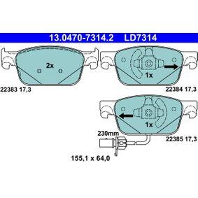 Kit de plaquettes de frein, frein à disque Largeur: 155,1mm, Hauteur: 64,0mm, Épaisseur: 17,3mm avec OEM numéro 8W0 698 151 AG
