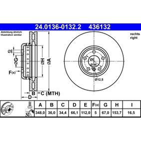Bremsscheibe Bremsscheibendicke: 36,0mm, Lochanzahl: 5, Ø: 348,0mm mit OEM-Nummer 34 11 6 860 912