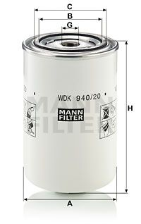 MANN-FILTER  WDK 940/20 Fuel filter Height: 148mm
