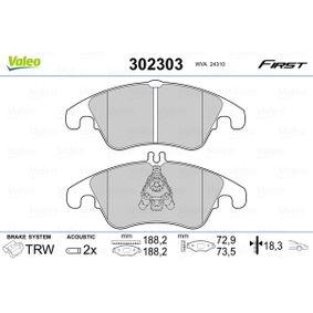 Bremsbelagsatz, Scheibenbremse Breite 2: 188,15mm, Höhe 1: 72,9mm, Höhe 2: 73,5mm, Dicke/Stärke 2: 18,3mm mit OEM-Nummer 1567730