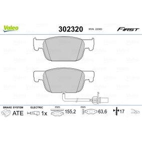 Bremsbelagsatz, Scheibenbremse Breite 1: 155,1mm, Höhe 1: 64mm, Dicke/Stärke 1: 17,3mm mit OEM-Nummer 8W0 698 151AG