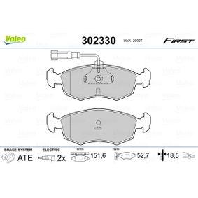 Bremsbelagsatz, Scheibenbremse Breite 1: 151,6mm, Höhe 1: 52,7mm, Dicke/Stärke 1: 18,5mm mit OEM-Nummer 71738152