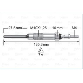Glühkerze Länge über Alles: 135,3mm, Gewindemaß: M10X1.25 mit OEM-Nummer 36710 2F001