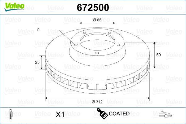 VALEO  672500 Bremsscheibe Bremsscheibendicke: 25mm, Felge: 9-loch, Ø: 312mm