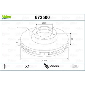 Bremsscheibe Bremsscheibendicke: 25mm, Felge: 9-loch, Ø: 312mm mit OEM-Nummer 1K0 615301AA