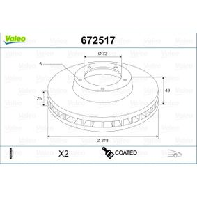 Brake Disc Brake Disc Thickness: 25mm, Rim: 5-Hole, Ø: 278mm with OEM Number C24Y-33-25XC-9A