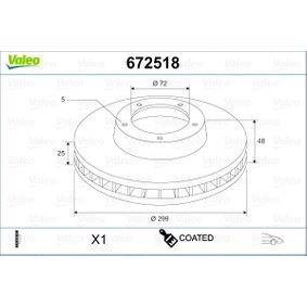 Bremsscheibe Bremsscheibendicke: 25mm, Felge: 5-loch, Ø: 299mm mit OEM-Nummer G33Y3325X