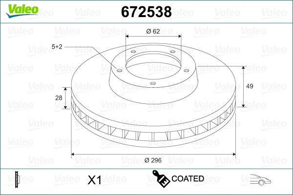 VALEO  672538 Bremsscheibe Bremsscheibendicke: 28mm, Felge: 5-loch, Ø: 296mm