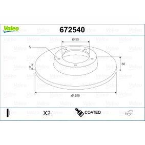 Bremsscheibe Bremsscheibendicke: 9mm, Felge: 5-loch, Ø: 259mm mit OEM-Nummer 42431-02250
