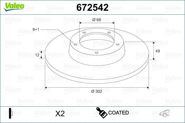 VALEO  672542 Bremsscheibe Bremsscheibendicke: 12mm, Felge: 9-loch, Ø: 302mm