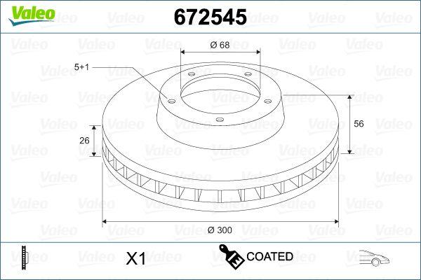 VALEO  672545 Bremsscheibe Bremsscheibendicke: 26mm, Felge: 5-loch, Ø: 300mm