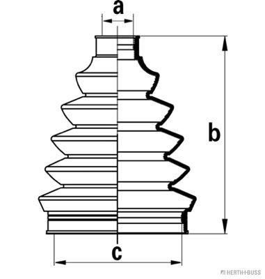HERTH+BUSS JAKOPARTS  J2860306 Faltenbalgsatz, Antriebswelle Höhe: 111mm, Innendurchmesser 2: 25mm, Innendurchmesser 2: 82mm