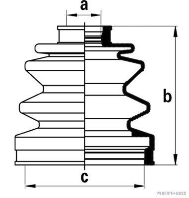HERTH+BUSS JAKOPARTS  J2860505 Faltenbalgsatz, Antriebswelle Höhe: 97mm, Innendurchmesser 2: 23mm, Innendurchmesser 2: 82mm