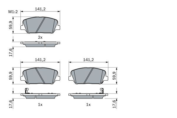 BOSCH  0 986 494 979 Bremsbelagsatz, Scheibenbremse Breite: 141,2mm, Höhe: 59,9mm, Dicke/Stärke: 17,6mm