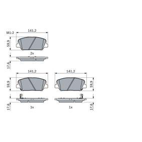 Bremsbelagsatz, Scheibenbremse Breite: 141,2mm, Höhe: 59,9mm, Dicke/Stärke: 17,6mm mit OEM-Nummer 58101-2MA00