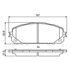 Bremsbelagsatz, Scheibenbremse Breite: 167mm, Höhe: 62,2mm, Dicke/Stärke: 17,5mm mit OEM-Nummer 68212 327AB