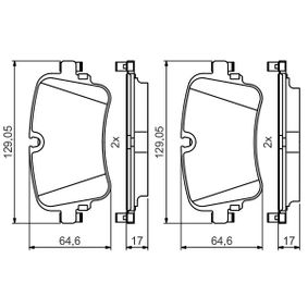 Brake Pad Set, disc brake Width: 129,1mm, Height: 64,6mm, Thickness: 17mm with OEM Number 4M0 698 451P
