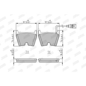 Kit de plaquettes de frein, frein à disque Hauteur 1: 74,4mm, Épaisseur: 16,7mm avec OEM numéro 8U0 698 151H