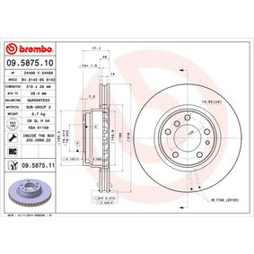 Bremsscheibe Bremsscheibendicke: 28mm, Lochanzahl: 5, Ø: 316mm mit OEM-Nummer 34 11 6 757 753