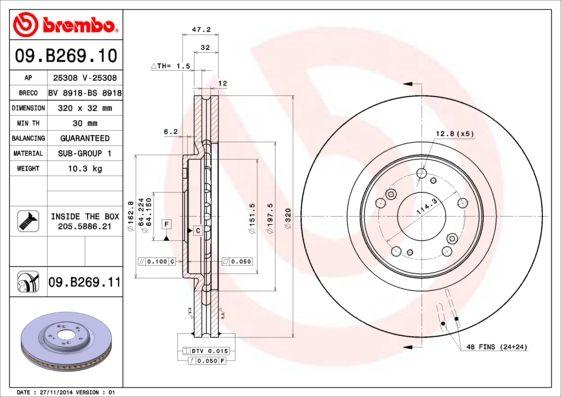 Brake Discs 09.B269.11 BREMBO 09.B269.11 original quality