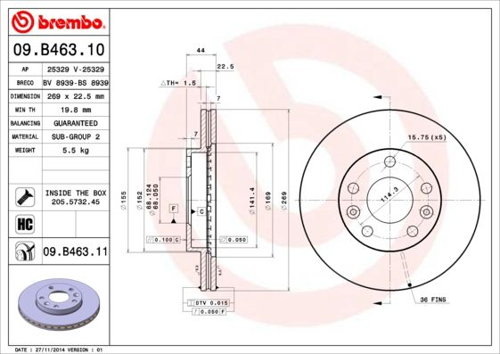 09.B463.11 BREMBO from manufacturer up to - 27% off!