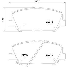 Bremsbelagsatz, Scheibenbremse Breite: 140,7mm, Höhe: 59,9mm, Dicke/Stärke: 17,3mm mit OEM-Nummer 58101-2TA20