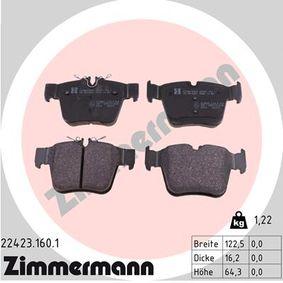 ZIMMERMANN  22423.160.1 Bremsbelagsatz, Scheibenbremse Breite: 122,4mm, Höhe 1: 64mm, Höhe 2: 70mm, Dicke/Stärke: 16,1mm