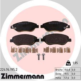 Bremsbelagsatz, Scheibenbremse Breite: 150,8mm, Höhe: 57,6mm, Dicke/Stärke: 19,5mm mit OEM-Nummer 77367923