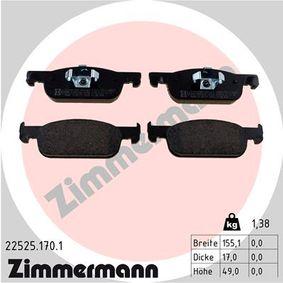 ZIMMERMANN  22525.170.1 Bremsbelagsatz, Scheibenbremse Breite: 155,1mm, Höhe: 49,0mm, Dicke/Stärke: 17mm