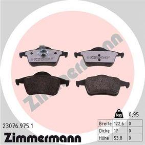 ZIMMERMANN  23076.975.1 Kit de plaquettes de frein, frein à disque Largeur 1: 123,8mm, Largeur 2: 122,6mm, Hauteur: 53,8mm, Épaisseur: 17,0mm