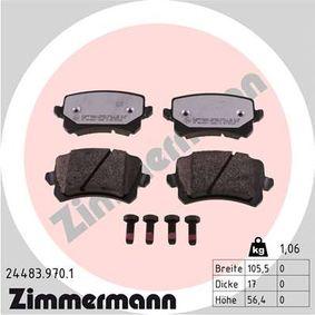 Bremsbelagsatz, Scheibenbremse Breite: 105,5mm, Höhe: 56,4mm, Dicke/Stärke: 17mm mit OEM-Nummer 3C0 698 451D