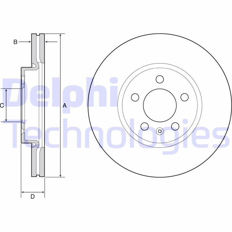DELPHI  BG4965C Bremsscheibe Bremsscheibendicke: 24mm, Lochanzahl: 5, Ø: 276mm
