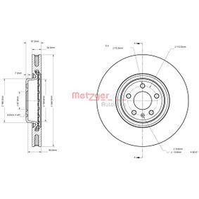 Bremsscheibe Bremsscheibendicke: 34mm, Lochanzahl: 5, Ø: 349,5mm mit OEM-Nummer 80A615301G